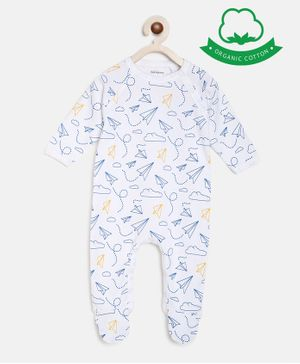 berrytree Organic Cotton Full Sleeves Airplanes Print Romper - Blue