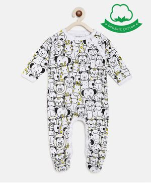 berrytree Organic Cotton Full Sleeves Animals Print Romper - Black