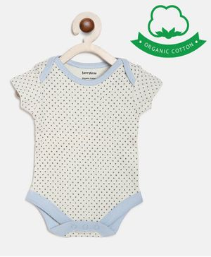 berrytree Organic Cotton Short Sleeves  Dots Prin Onesie  - Grey