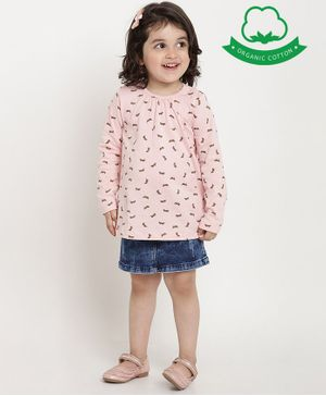 berrytree Organic Cotton Full Sleeves Rabbit Printed Top - Pink