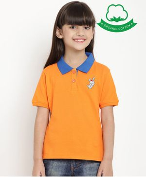 berrytree Organic Cotton Half Sleeves Bunny Embroidered T-Shirt - Orange