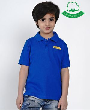 berrytree Organic Cotton Half Sleeves Car Embroidered T-Shirt - Blue
