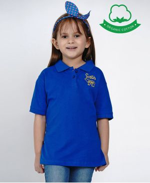 berrytree Organic Cotton Half Sleeves Sister Bear Embroidered T-Shirt - Blue