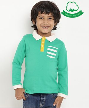 berrytree Organic Cotton Full Sleeves Striped Pocket Design Polo T-Shirt - Green