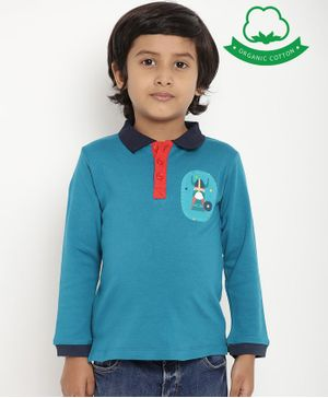 berrytree Organic Cotton Full Sleeves Cartoon Patch Polo T-Shirt - Teal Blue