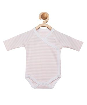 berrytree Organic Cotton Full Sleeves Striped Onesie - Pink