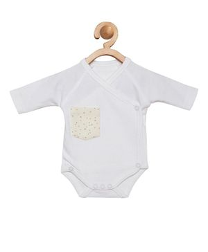 berrytree Organic Cotton Full Sleeves Stars Printed Pocket Design Onesie - White