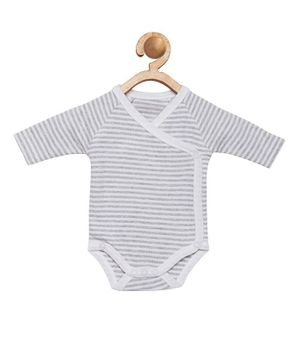berrytree Organic Cotton Full Sleeves Striped Onesie - Grey