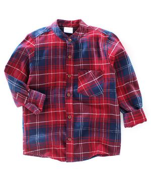 BAATCHEET Twill Checked Full Sleeves Shirt - Red