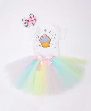 TINY MINY MEE Cup Cake Patch Half Sleeves Onesie With Tulle Skirt & Headband - White