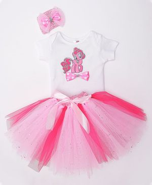 TINY MINY MEE Cute Pie Print Half Sleeves Onesie With Tulle Skirt & Headband - White & Pink