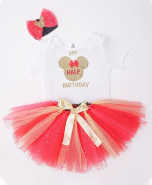 TINY MINY MEE My Half Birthday Print Half Sleeves Onesie With Headband & Tulle Skirt - White & Red