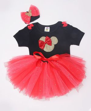 TINY MINY MEE Bow Embellished Half Sleeves Onesie With Tulle Skirt & Headband - Black & Red