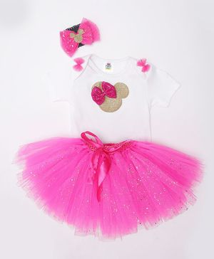 TINY MINY MEE Bow Embellished Half Sleeves Onesie With Tulle Skirt & Headband - White & Magenta