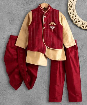 Dapper Dudes Full Sleeves Solid Kurta With Jacket Dhoti & Pyjama Set - Maroon