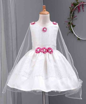 Enfance Sleeveless Flower Applique Flared Dress - White