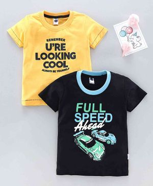 Teddy Half Sleeves T-Shirt Text Print Pack of 2 - Yellow Black