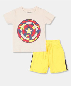 Colt Half Sleeves Marvel Print T-Shirt & Shorts Set - Beige