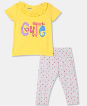 Donut Cap Sleeves Cute Print Top With Leggings  - Yellow and Light Grey