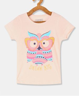 Cherokee Short Sleeves Graphic Owl Printed T-Shirt - Peach