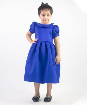 Ruviero Short Puffed Sleeves Peter Pan Collared Neck Dress - Blue