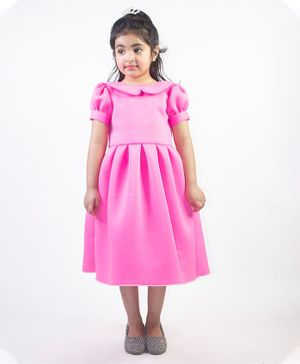 Ruviero Short Puffed Sleeves Peter Pan Collared Neck Dress - Pink