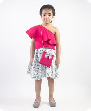 Ruviero Short Sleeves One Shoulder Top With Printed Skirt & Sling Bag - Pink White