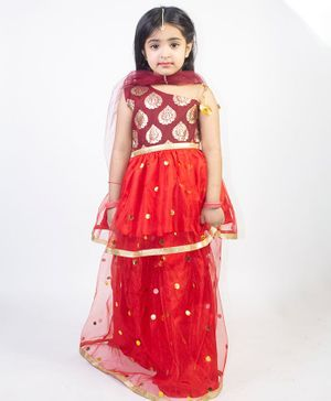 Ruviero Sleeveless Motif Print Choli With Lehenga & Dupatta - Red