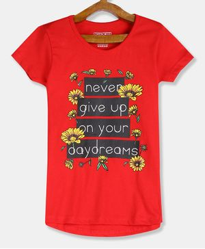 Cherokee Short Sleeves Floral Printed Tee - Red