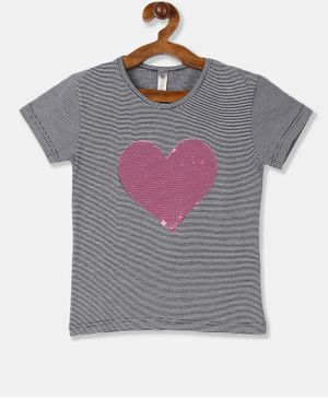 Cherokee Short Sleeves Striped Sequined Heart T-Shirt - Grey