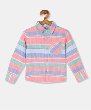 Donut Full Sleeves Striped Shirt - Pink