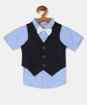 Donut Half Sleeves Solid Shirt With Waistcoat & Bow - Blue