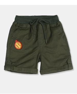 Donut Self Striped Woven Shorts - Olive Green