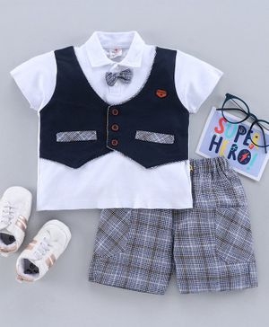 Brats and Dolls Half Sleeves T-Shirt and Checked Shorts Set - Navy Blue