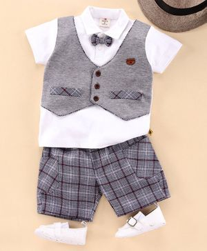 Brats and Dolls Half Sleeves T-Shirt and Checked Shorts Set - Grey