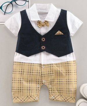 Brats and Dolls Half Sleeves Party Wear Checked Romper with Attached Waist Coat and Bow - Navy Blue