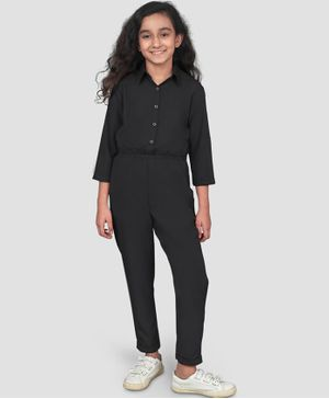 UPTOWNIE Full Sleeves Solid Colour Jumpsuit - Black