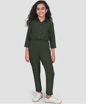 UPTOWNIE Full Sleeves Solid Colour Jumpsuit - Green