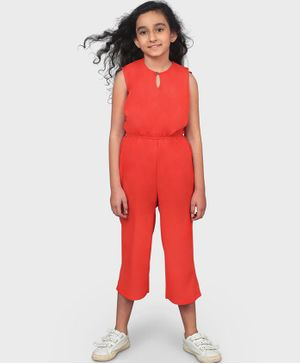 UPTOWNIE Sleeveless Solid Colour Jumpsuit - Red