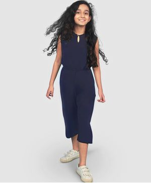 UPTOWNIE Sleeveless Solid Colour Jumpsuit - Navy Blue
