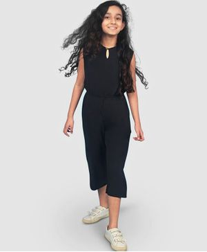 UPTOWNIE Sleeveless Solid Colour Jumpsuit - Black