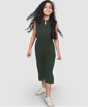 UPTOWNIE Sleeveless Solid Colour Jumpsuit - Green