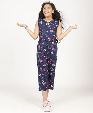 UPTOWNIE Sleeveless Floral Print Jumpsuit - Navy Blue