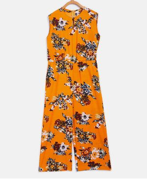 UPTOWNIE Sleeveless Floral Print Jumpsuit - Yellow