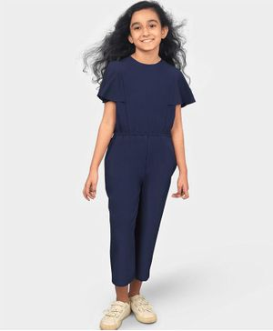 UPTOWNIE Solid Colour Half Sleeves Jumpsuit - Navy Blue