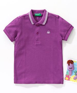 UCB Half Sleeves Solid Colour Henley Tee - Purple