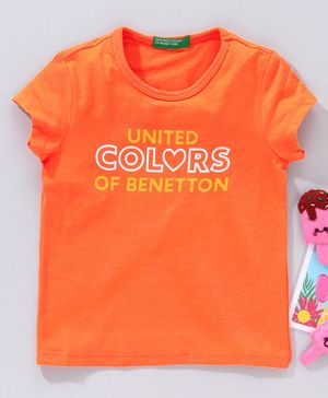 UCB Half Sleeves T-Shirt United Colors Of Benetton Print - Orange