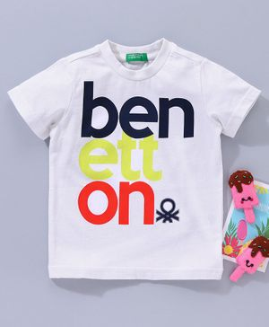 UCB Half Sleeves T-Shirt Benetton Print - White