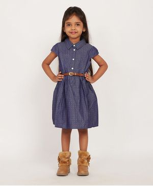 Solly & Dolly Short Sleeves Dots Printed Dress - Blue