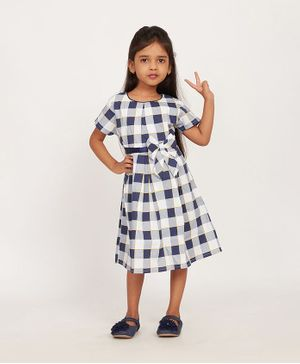 Solly & Dolly Half Sleeves Checked Dress - Navy Blue